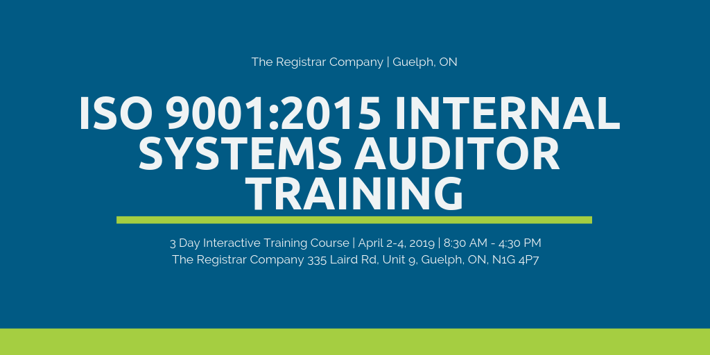 Guelph ISO Auditor Training - The Registrar Company Guelph